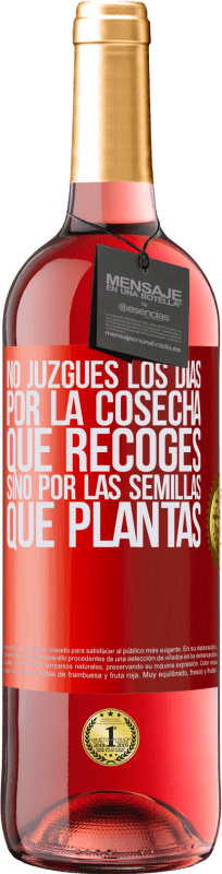29,95 € Free Shipping | Rosé Wine ROSÉ Edition Do not judge the days by the harvest you collect, but by the seeds you plant Red Label. Customizable label Young wine Harvest 2020 Tempranillo