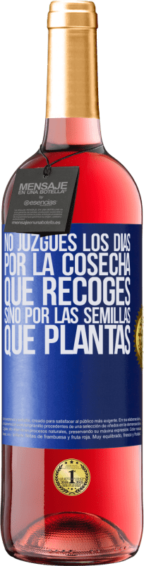29,95 € Free Shipping | Rosé Wine ROSÉ Edition Do not judge the days by the harvest you collect, but by the seeds you plant Blue Label. Customizable label Young wine Harvest 2020 Tempranillo