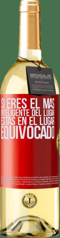 24,95 € Envío gratis   Vino Blanco Edición WHITE Si eres el más inteligente del lugar, estas en el lugar equivocado Etiqueta Roja. Etiqueta personalizable Vino joven Cosecha 2020 Verdejo