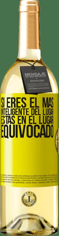 24,95 € Envío gratis   Vino Blanco Edición WHITE Si eres el más inteligente del lugar, estas en el lugar equivocado Etiqueta Amarilla. Etiqueta personalizable Vino joven Cosecha 2020 Verdejo
