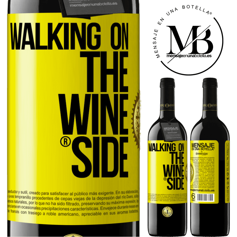 24,95 € Free Shipping | Red Wine RED Edition Crianza 6 Months Walking on the Wine Side® Yellow Label. Customizable label Aging in oak barrels 6 Months Harvest 2018 Tempranillo