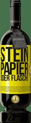 29,95 € Kostenloser Versand | Rotwein Premium Edition MBS® Reserva Stein, Papier oder Flasche Gelbes Etikett. Anpassbares Etikett Reserva 12 Monate Ernte 2013 Tempranillo