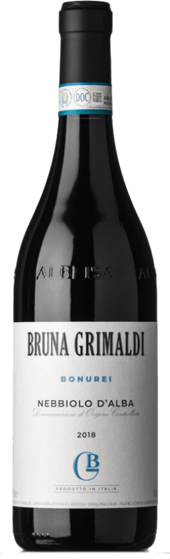 16,95 € Free Shipping | Red wine Bruna Grimaldi Bonurei D.O.C. Nebbiolo d'Alba Piemonte Italy Nebbiolo Bottle 75 cl
