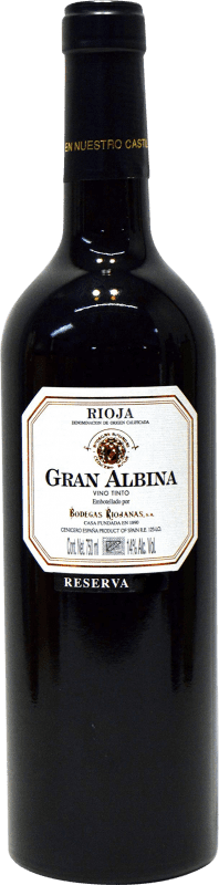 29,95 € Envío gratis   Vino tinto Bodegas Riojanas Gran Albina Reserva D.O.Ca. Rioja La Rioja España Tempranillo, Graciano, Mazuelo Botella 75 cl