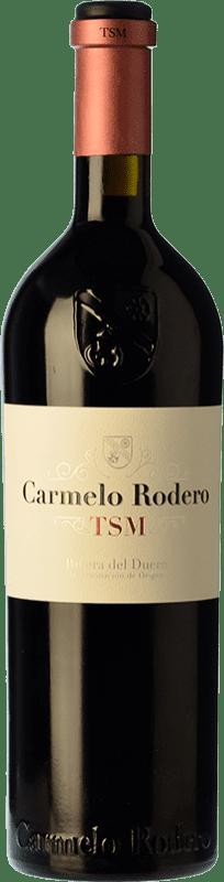 49,95 € Envío gratis | Vino tinto Carmelo Rodero TSM Crianza D.O. Ribera del Duero Castilla y León España Tempranillo, Merlot, Cabernet Sauvignon Botella 75 cl