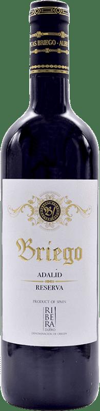 18,95 € Envío gratis | Vino tinto Briego Adalid Reserva D.O. Ribera del Duero Castilla y León España Tempranillo Botella 75 cl