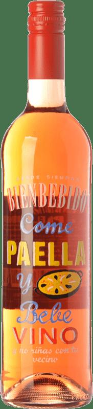 5,95 € Free Shipping | Rosé wine Castillo de Maetierra Come Paella y Bebe Vino I.G.P. Vino de la Tierra Valles de Sadacia The Rioja Spain Merlot, Muscatel Small Grain Bottle 75 cl