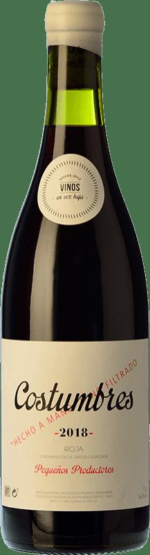 16,95 € Envío gratis | Vino tinto En Voz Baja Costumbres Crianza D.O.Ca. Rioja La Rioja España Garnacha Botella 75 cl