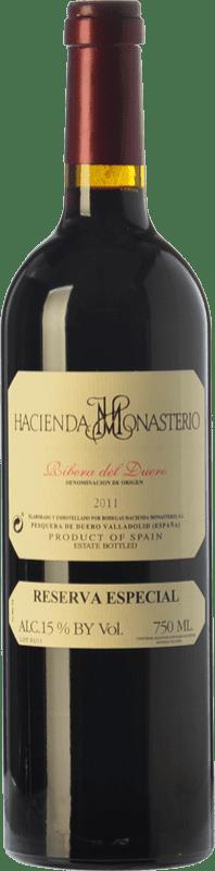 81,95 € Envío gratis | Vino tinto Hacienda Monasterio Especial Reserva D.O. Ribera del Duero Castilla y León España Tempranillo, Cabernet Sauvignon Botella 75 cl