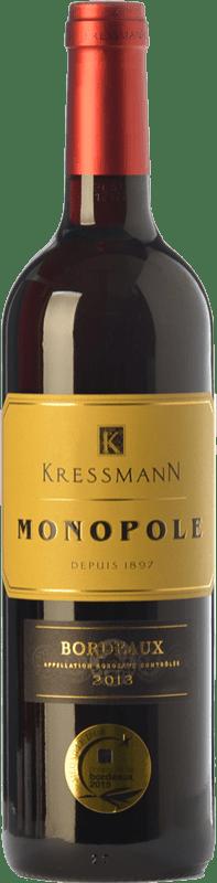 9,95 € Envío gratis   Vino tinto Kressmann Monopole Rouge Crianza A.O.C. Bordeaux Supérieur Burdeos Francia Merlot, Cabernet Sauvignon Botella 75 cl