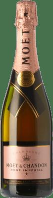 117,95 € Envio grátis | Espumante rosé Moët & Chandon Rosé Impérial Reserva A.O.C. Champagne Champagne França Chardonnay, Pinot Meunier Garrafa Magnum 1,5 L