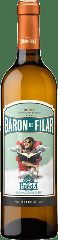 7,95 € Envío gratis | Vino blanco Peñafiel Barón de Filar D.O. Rueda Castilla y León España Verdejo Botella 75 cl