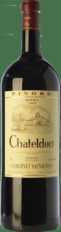 91,95 € Free Shipping | Red wine Pinord Chateldon Reserva 2009 D.O. Penedès Catalonia Spain Cabernet Sauvignon Special Bottle 5 L