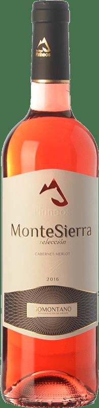 4,95 € Free Shipping | Rosé wine Pirineos Montesierra Joven D.O. Somontano Aragon Spain Merlot, Cabernet Sauvignon Bottle 75 cl