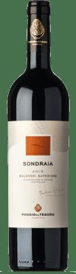 57,95 € Envío gratis | Vino tinto Poggio al Tesoro Sondraia D.O.C. Bolgheri Toscana Italia Merlot, Cabernet Sauvignon, Cabernet Franc Botella 75 cl