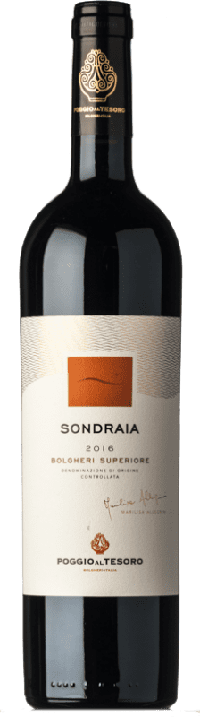 57,95 € Envoi gratuit | Vin rouge Poggio al Tesoro Sondraia D.O.C. Bolgheri Toscane Italie Merlot, Cabernet Sauvignon, Cabernet Franc Bouteille 75 cl