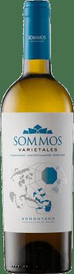 9,95 € Kostenloser Versand | Weißwein Sommos Varietales Crianza D.O. Somontano Aragón Spanien Pinot Schwarz, Chardonnay, Gewürztraminer Flasche 75 cl