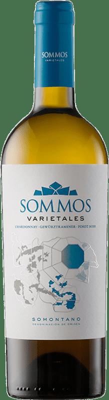 9,95 € Free Shipping | White wine Sommos Varietales Crianza D.O. Somontano Aragon Spain Pinot Black, Chardonnay, Gewürztraminer Bottle 75 cl