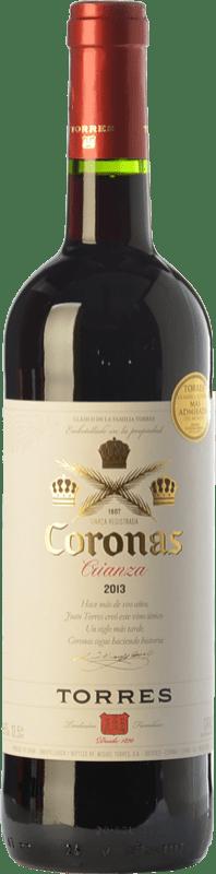 7,95 € Envío gratis | Vino tinto Torres Coronas Crianza D.O. Catalunya Cataluña España Tempranillo, Cabernet Sauvignon Botella 75 cl