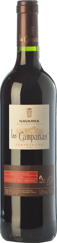 4,95 € Free Shipping | Red wine Vinícola Navarra Las Campanas Joven D.O. Navarra Navarre Spain Tempranillo Bottle 75 cl
