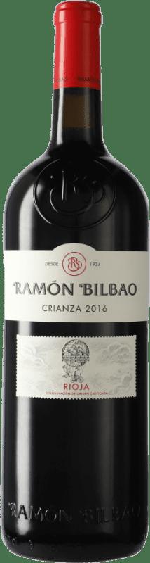 17,95 € Spedizione Gratuita | Vino rosso Ramón Bilbao Crianza D.O.Ca. Rioja La Rioja Spagna Tempranillo Bottiglia Magnum 1,5 L