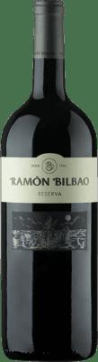 31,95 € Envoi gratuit | Vin rouge Ramón Bilbao Reserva D.O.Ca. Rioja La Rioja Espagne Tempranillo, Graciano, Mazuelo, Carignan Bouteille Magnum 1,5 L