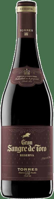 11,95 € Envío gratis | Vino tinto Torres Gran Sangre de Toro Reserva D.O. Catalunya Cataluña España Syrah, Garnacha, Mazuelo, Cariñena Botella 75 cl
