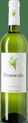4,95 € Envío gratis | Vino blanco Dominio de Eguren Protocolo Orgánico Joven I.G.P. Vino de la Tierra de Castilla Castilla la Mancha y Madrid España Macabeo, Airén Botella 75 cl