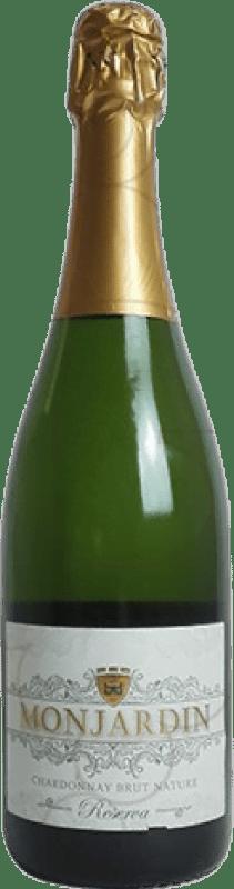 9,95 € Free Shipping | White sparkling Castillo de Monjardín Brut Nature Joven Aragon Spain Chardonnay Bottle 75 cl