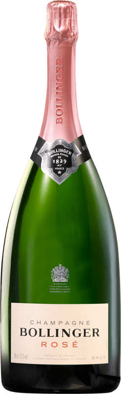 139,95 € Free Shipping | Rosé sparkling Bollinger Rosé Brut Gran Reserva A.O.C. Champagne France Pinot Black, Chardonnay, Pinot Meunier Magnum Bottle 1,5 L