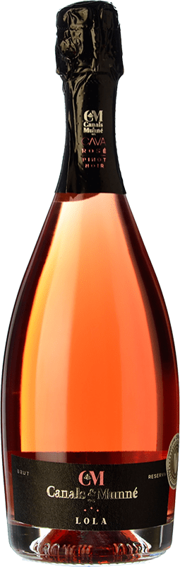 14,95 € Free Shipping | Rosé sparkling Canals & Munné Lola Brut Reserva D.O. Cava Catalonia Spain Pinot Black Bottle 75 cl