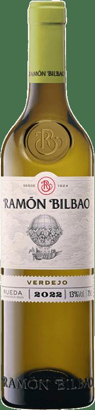 7,95 € Spedizione Gratuita | Vino bianco Ramón Bilbao Joven D.O. Rueda Castilla y León Spagna Verdejo Bottiglia 75 cl