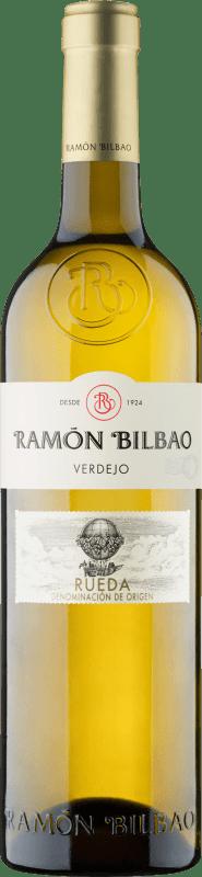 12,95 € Envío gratis | Vino blanco Ramón Bilbao Joven D.O. Rueda Castilla y León España Verdejo Botella Mágnum 1,5 L