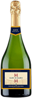 5,95 € Free Shipping | White sparkling Marqués de La Concordia Blanc de Blancs Brut Nature Reserva D.O. Cava Catalonia Spain Macabeo, Xarel·lo, Chardonnay, Parellada Bottle 75 cl | Thousands of wine lovers trust us to get the best price guarantee, free shipping always and hassle-free shopping and returns.