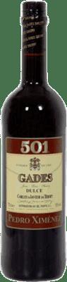 6,95 € Kostenloser Versand | Verstärkter Wein Gades 501 D.O. Jerez-Xérès-Sherry Andalucía y Extremadura Spanien Pedro Ximénez Flasche 75 cl