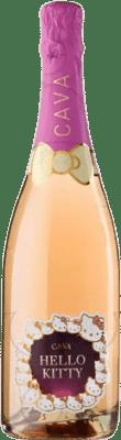 5,95 € Envío gratis | Espumoso rosado Hello Kitty Semi Seco D.O. Cava Cataluña España Garnacha Botella 75 cl