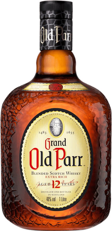 47,95 € Free Shipping | Whisky Blended Old Parr 12 Años Reserva United Kingdom Missile Bottle 1 L