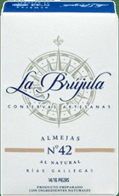 134,95 € Free Shipping | Conservas de Marisco La Brújula Almejas al Natural Reserva Spain 10/12 Pieces