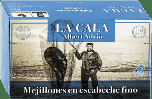 7,95 € Envío gratis | Conservas de Marisco La Cala Mejillón en Escabeche España 8/12 Piezas