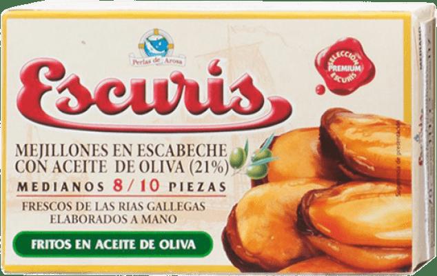 6,95 € Envío gratis | Conservas de Marisco Escurís Mejillón en Escabeche España 8/10 Piezas