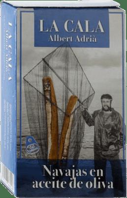 13,95 € Envío gratis | Conservas de Marisco La Cala Navajas en Aceite de Oliva España 6/8 Piezas