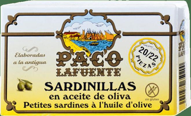 4,95 € Kostenloser Versand | Conservas de Pescado Conservera Gallega Paco Lafuente Sardinillas en Aceite de Oliva Galizien Spanien 20/25 Stücke