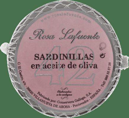 9,95 € Kostenloser Versand | Conservas de Pescado Conservera Gallega Rosa Lafuente Sardinillas en Aceite de Oliva Galizien Spanien 42 Stücke