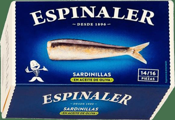 3,95 € Kostenloser Versand | Conservas de Pescado Espinaler Sardinillas en Aceite de Oliva Spanien 14/16 Stücke