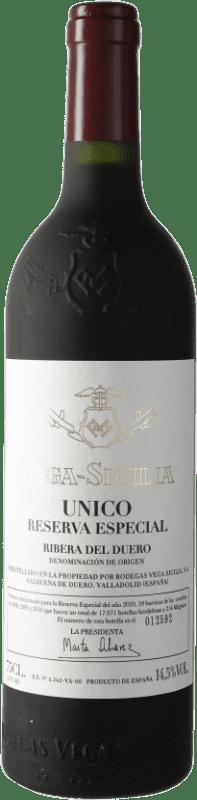 432,95 € Envío gratis | Vino tinto Vega Sicilia Único Especial Reserva 2010 D.O. Ribera del Duero Castilla y León España Tempranillo, Cabernet Sauvignon Botella 75 cl