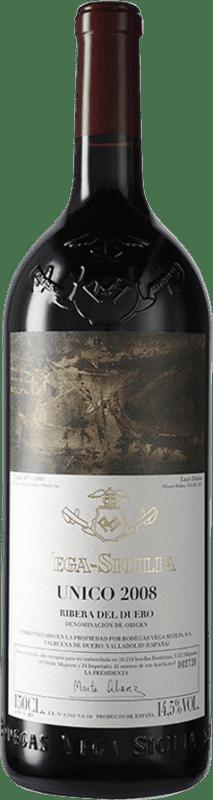 712,95 € Envío gratis | Vino tinto Vega Sicilia Único Gran Reserva 2008 D.O. Ribera del Duero Castilla y León España Tempranillo, Cabernet Sauvignon Botella Mágnum 1,5 L