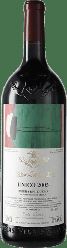 805,95 € Envío gratis | Vino tinto Vega Sicilia Único Gran Reserva 2005 D.O. Ribera del Duero Castilla y León España Tempranillo, Cabernet Sauvignon Botella Mágnum 1,5 L